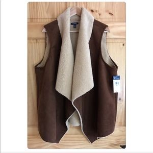CHAPS sueded faux shearling open vest plus Sz 2X